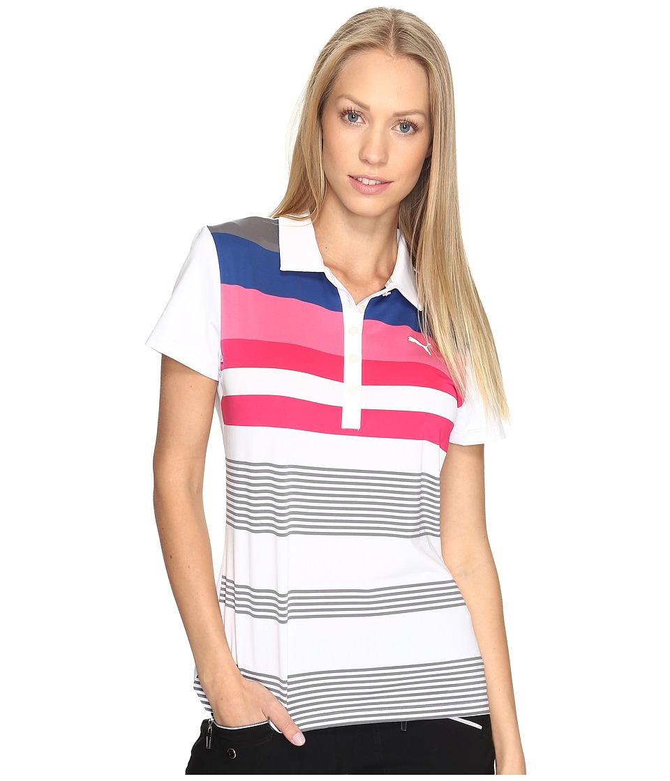 PUMA Golf - Road Map Polo (Bright White/Shocking Pink) Women's Short Sleeve Pullover