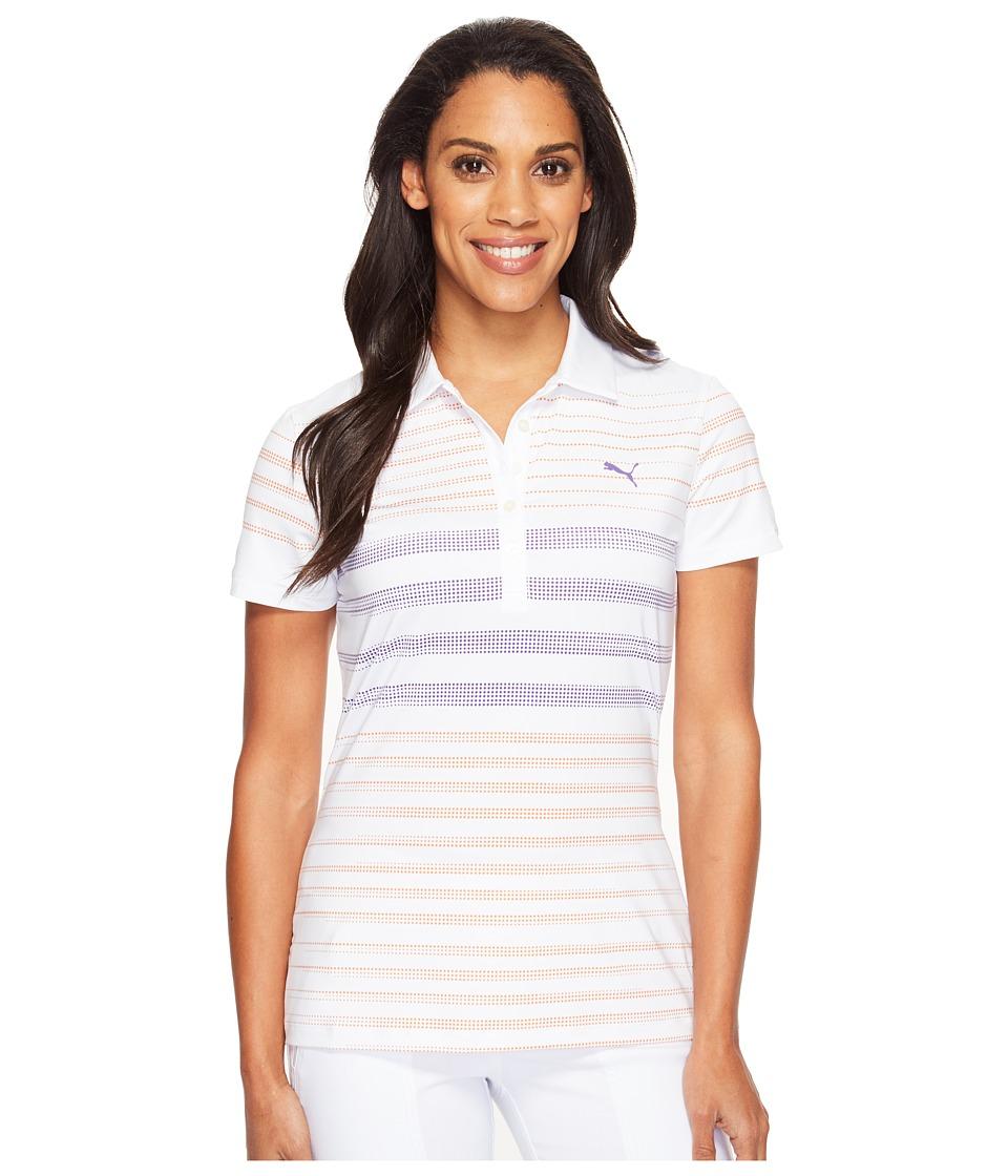 PUMA Golf - Dot Stripe Polo (Golden Poppy) Women's Short Sleeve Knit