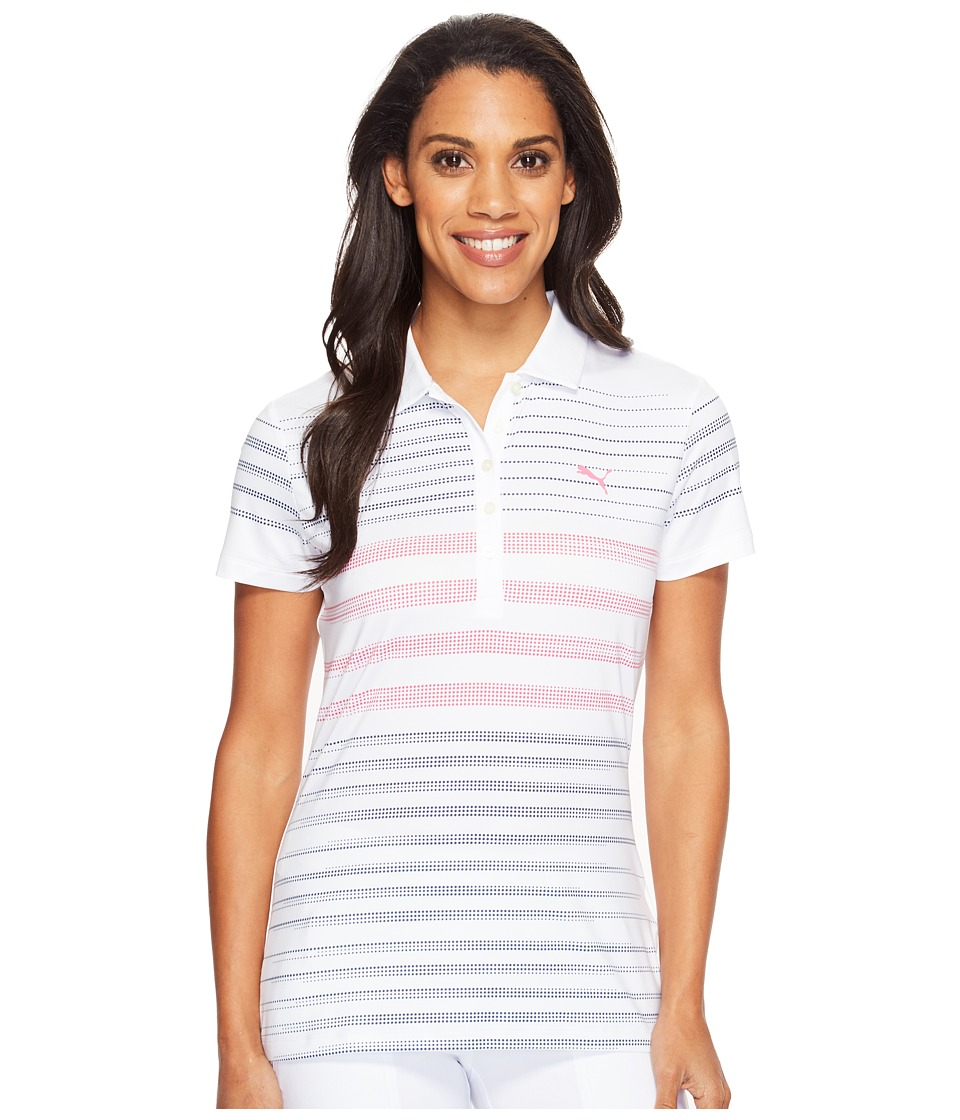PUMA Golf - Dot Stripe Polo (Peacoat) Women's Short Sleeve Knit