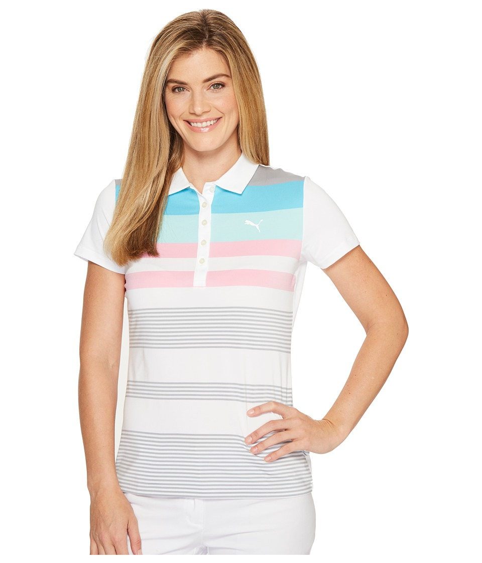 PUMA Golf - Road Map Polo (Bright White/Aruba Blue) Women's Short Sleeve Pullover