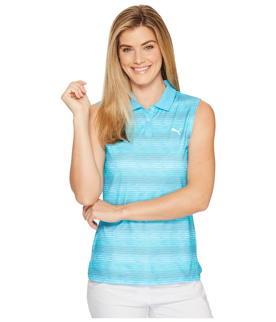 PUMA Golf - Road Map Sleeveless Polo (Blue Atoll) Women's Short Sleeve Knit