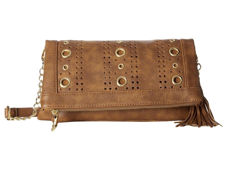 Steve Madden - Baddie Grommet Convertible Clutch (Cognac) Clutch Handbags