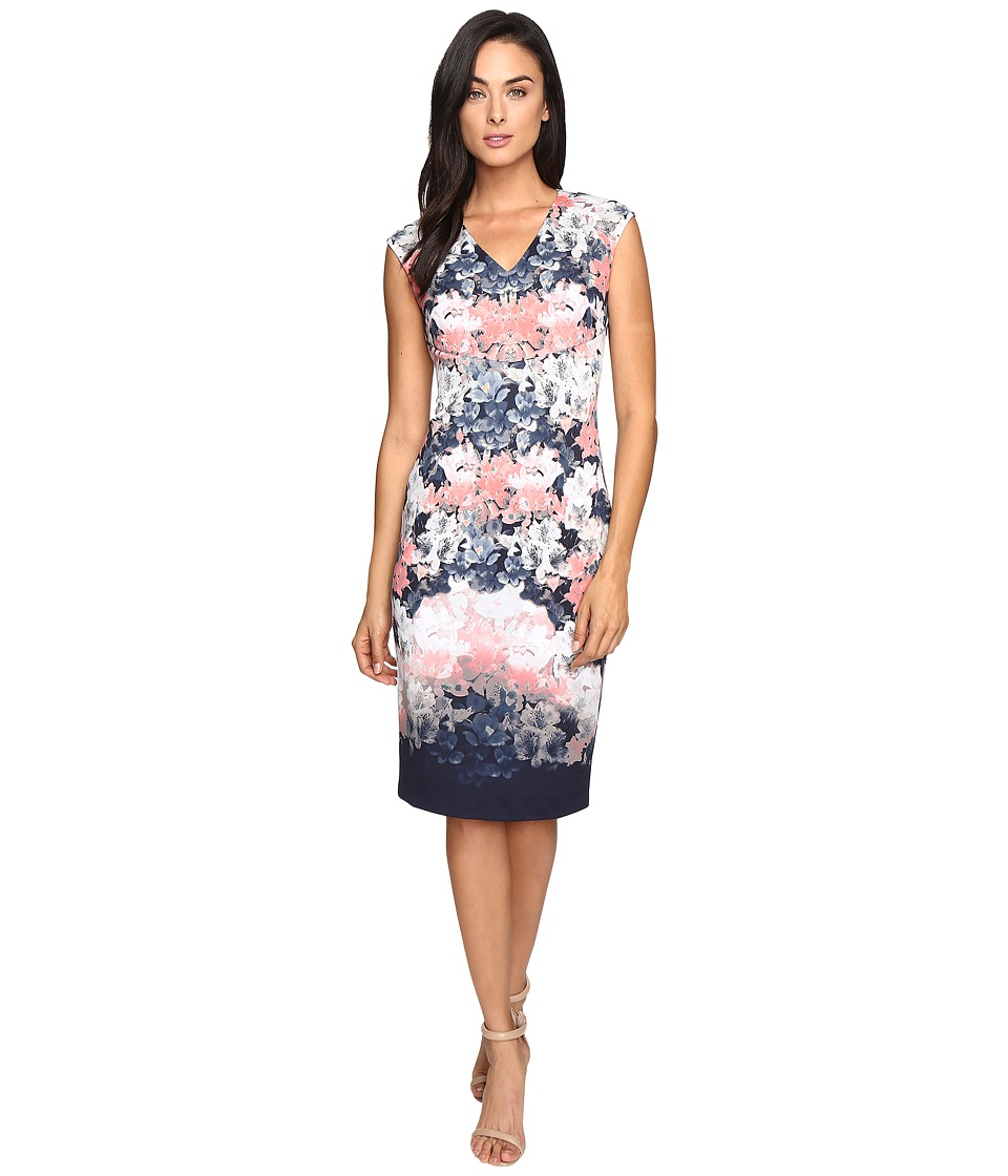 Maggy London - Shadow Garden Scuba Sheath Dress (Indigo/Coral) Women's Dress