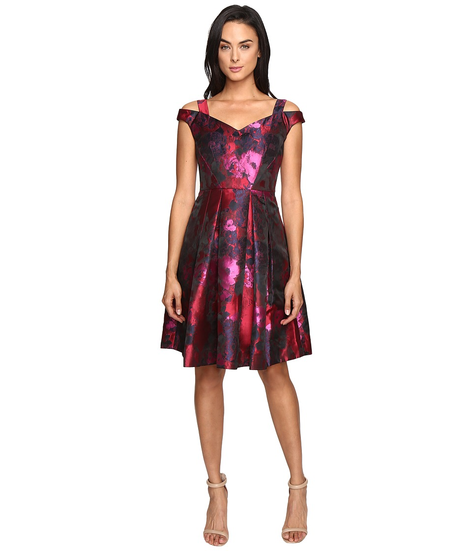 Maggy London - Floral Brocade Fit and Flare Dress (Red/Black) Women's Dress