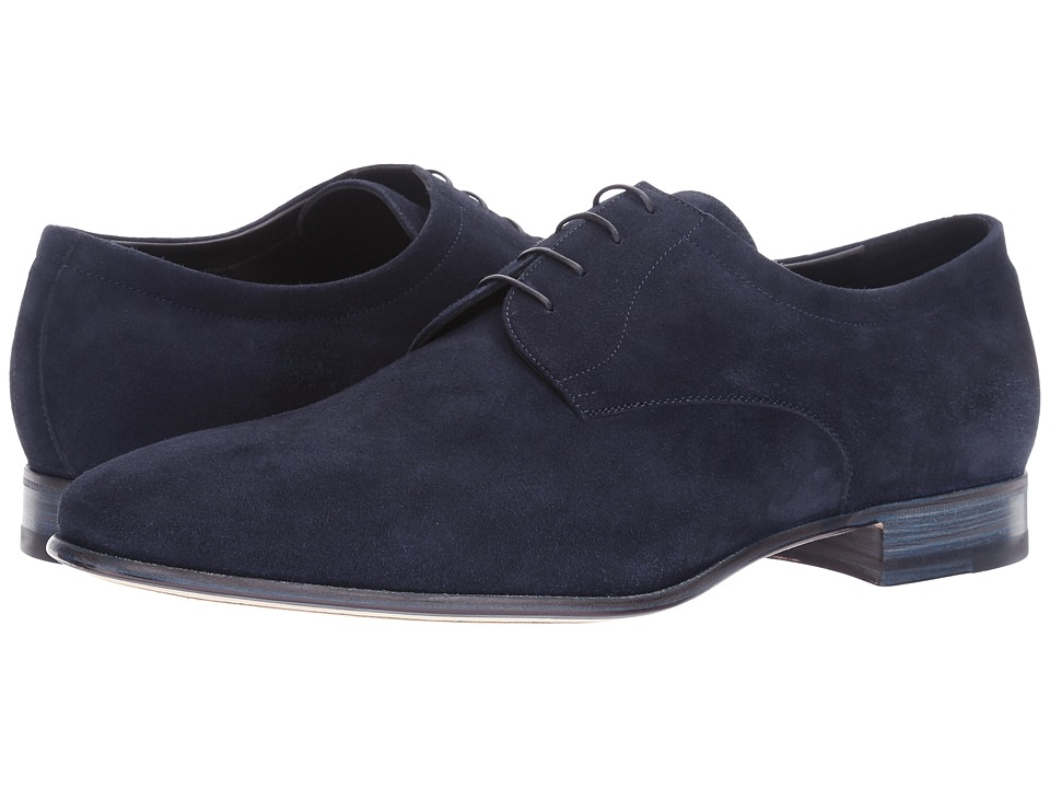 a. testoni - Suede Deluxe Derby (Navy) Men's Shoes