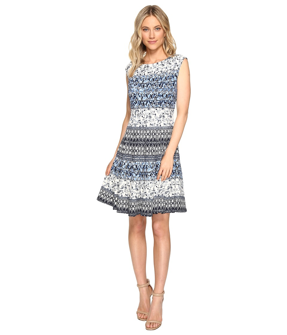 Christin Michaels Adriane Printed Fit and Flare Dress (Ivory/Navy) Women