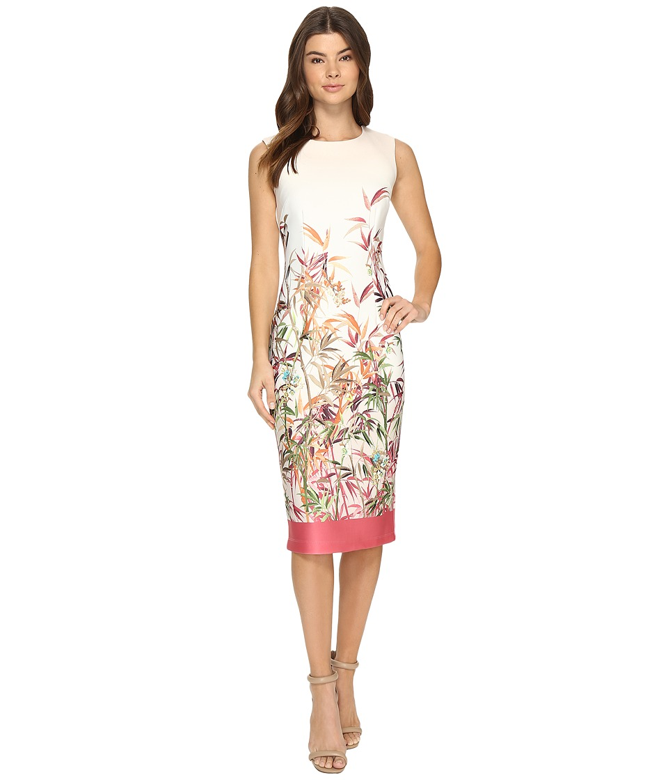 Christin Michaels - Colette Floral Print Midi Dress (Ivory/Coral) Women's Dress