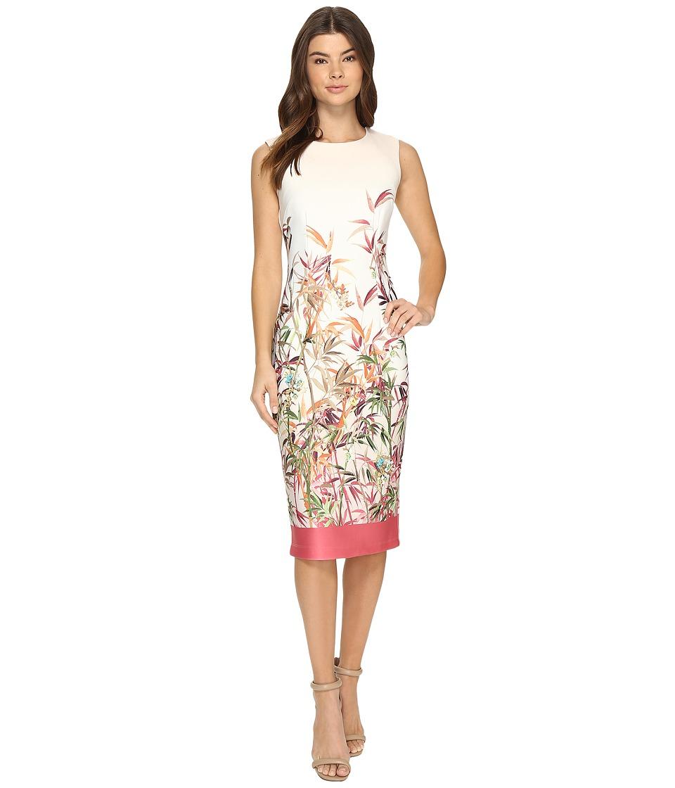 Christin Michaels - Colette Floral Print Midi Dress (Ivory/Coral) Women's Dress