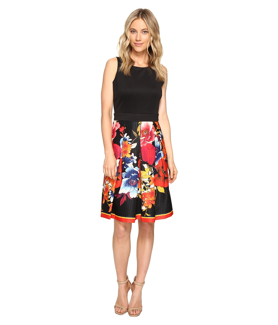 Christin Michaels - Reine Sleeveless Floral Print Dress (Black/Poppy) Women's Dress