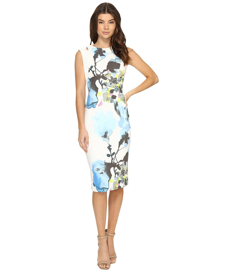 Christin Michaels - Opal Floral Print Midi Dress with Shoulder Detail (Blue/Ivory) Women's Dress