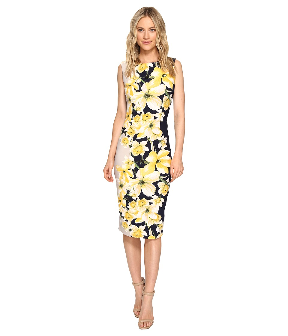 Christin Michaels - Helene Cap Sleeve Midi Dress (Navy/Yellow) Women's Dress