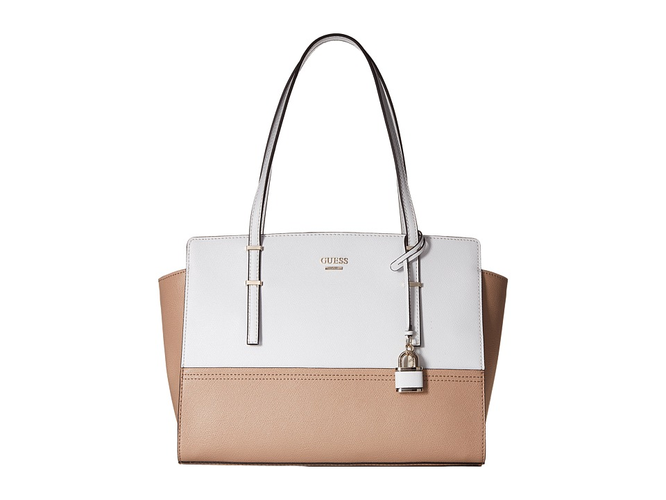 GUESS - Devyn Large Satchel (Tan Multi) Satchel Handbags