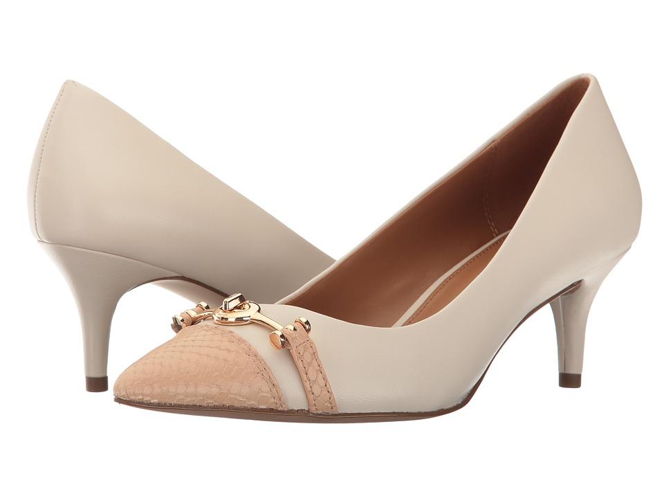 COACH - Lauri (Chalk/Beechwood Matte Calf/Textured Snake) Women's 1-2 inch heel Shoes