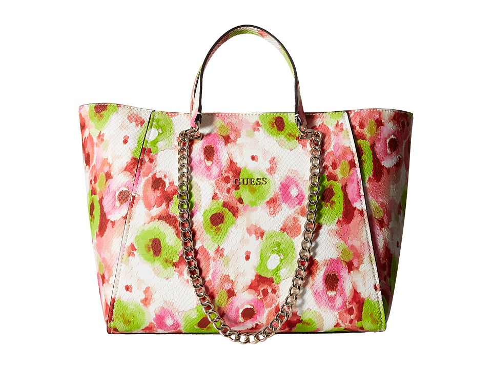 GUESS - Nikki Chain Tote (Pink) Tote Handbags