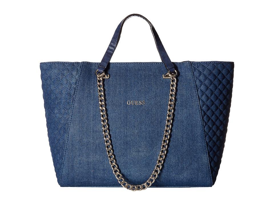 GUESS - Nikki Chain Tote (Denim) Tote Handbags