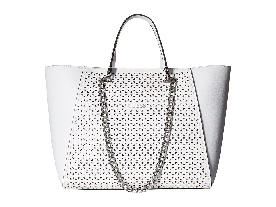 GUESS - Nikki Chain Tote (White) Tote Handbags