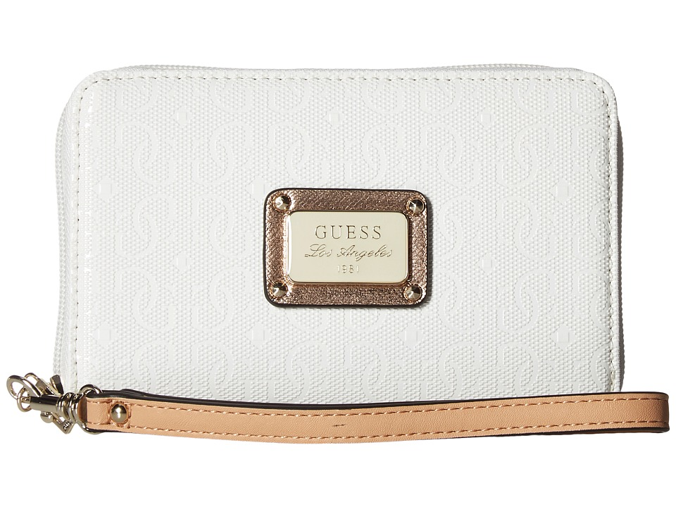 GUESS - Specks Zip Around Case (White Rose) Handbags