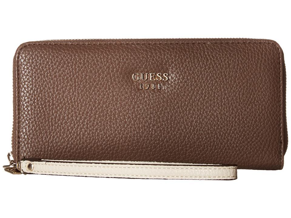 GUESS - Cate Large Zip Around (Brown Multi) Handbags