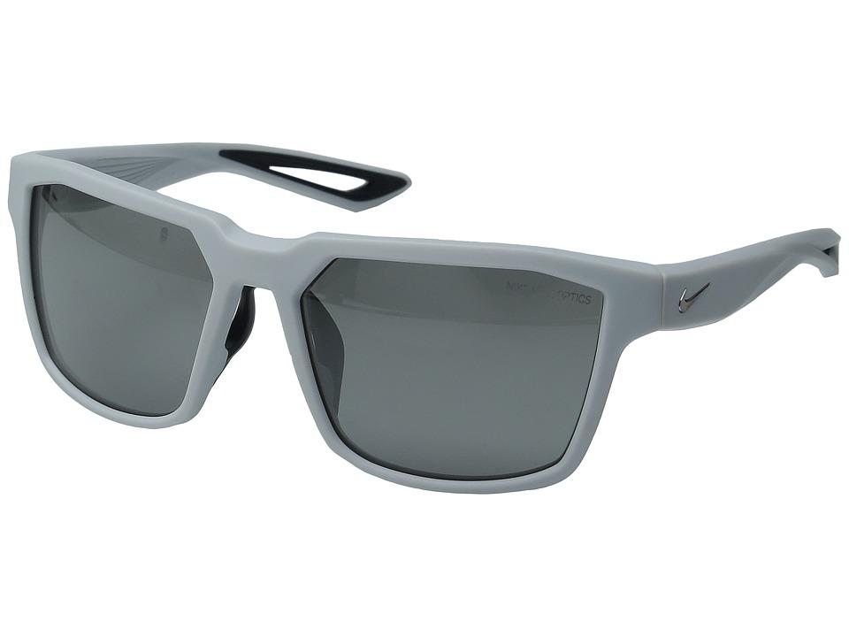 Nike - Fleet (Matte Platinum/Grey/Silver Flash Lens) Athletic Performance Sport Sunglasses
