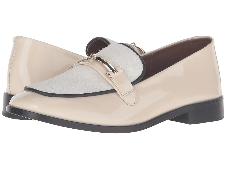 NewbarK - Melanie II Hardware (Winter White Patent/Cream Hair-On Calf with Black Piping) Women's Shoes