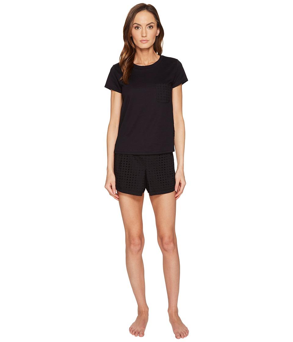 Kate Spade New York - Eyelet Skort PJ Set (Black) Women's Pajama Sets