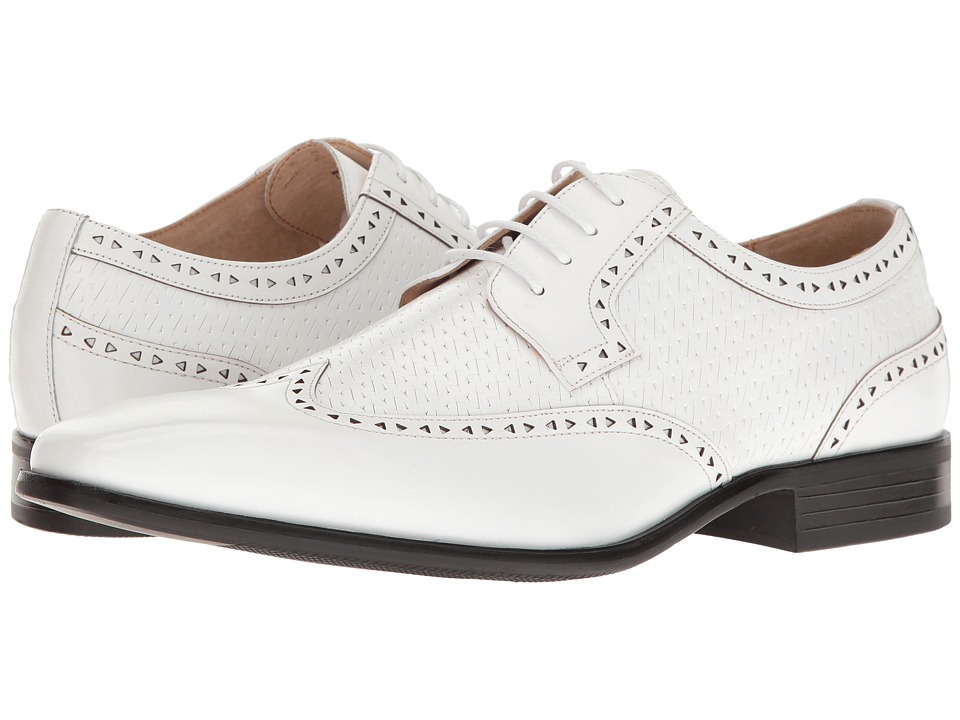 Stacy Adams - Melville (White) Men's Lace Up Wing Tip Shoes