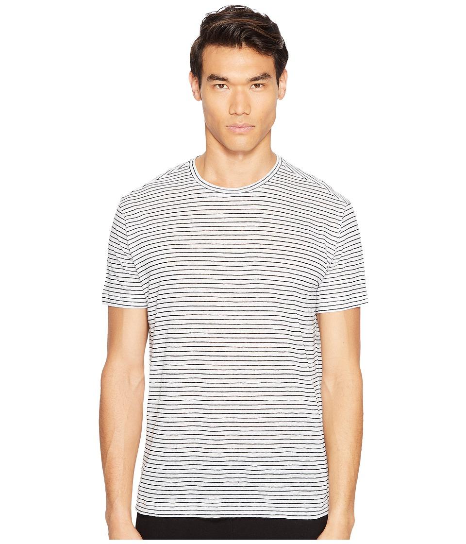 ATM Anthony Thomas Melillo - Striped Linen Relaxed Fit Crew (Black/White Stripe) Men's T Shirt