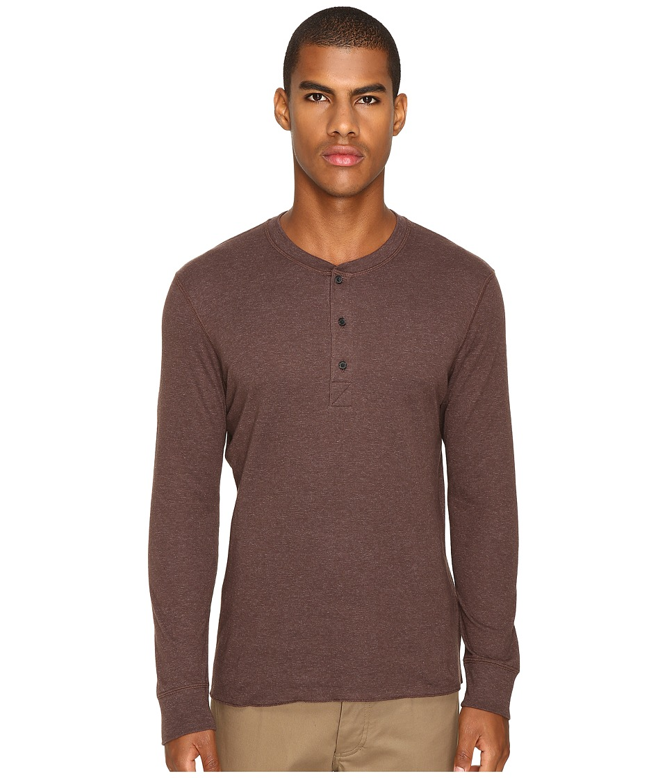 Billy Reid - Long Sleeve Harper Henley (Coffee) Men's T Shirt
