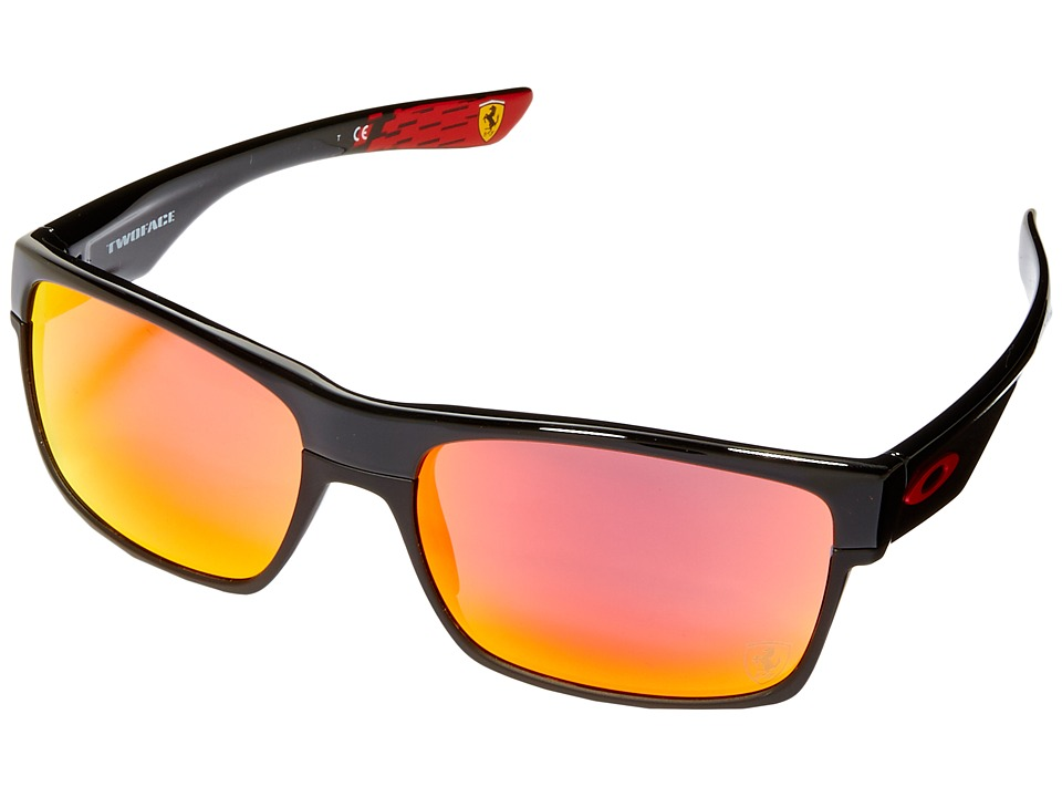 Oakley - Two Face (Polished Black/Ruby Iridium) Fashion Sunglasses