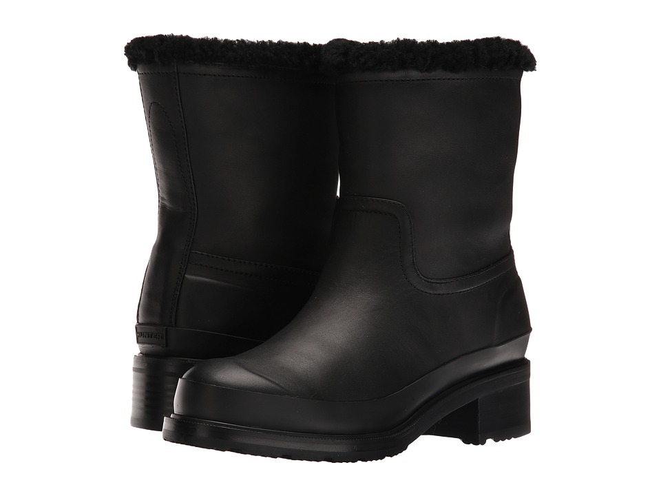 Hunter - Original Lined Shearling Ankle Boot (Black) Women's Rain Boots