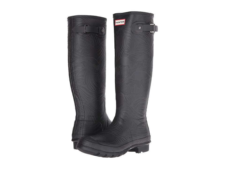 Hunter - Original Tall Wave Texture (Black) Women's Boots