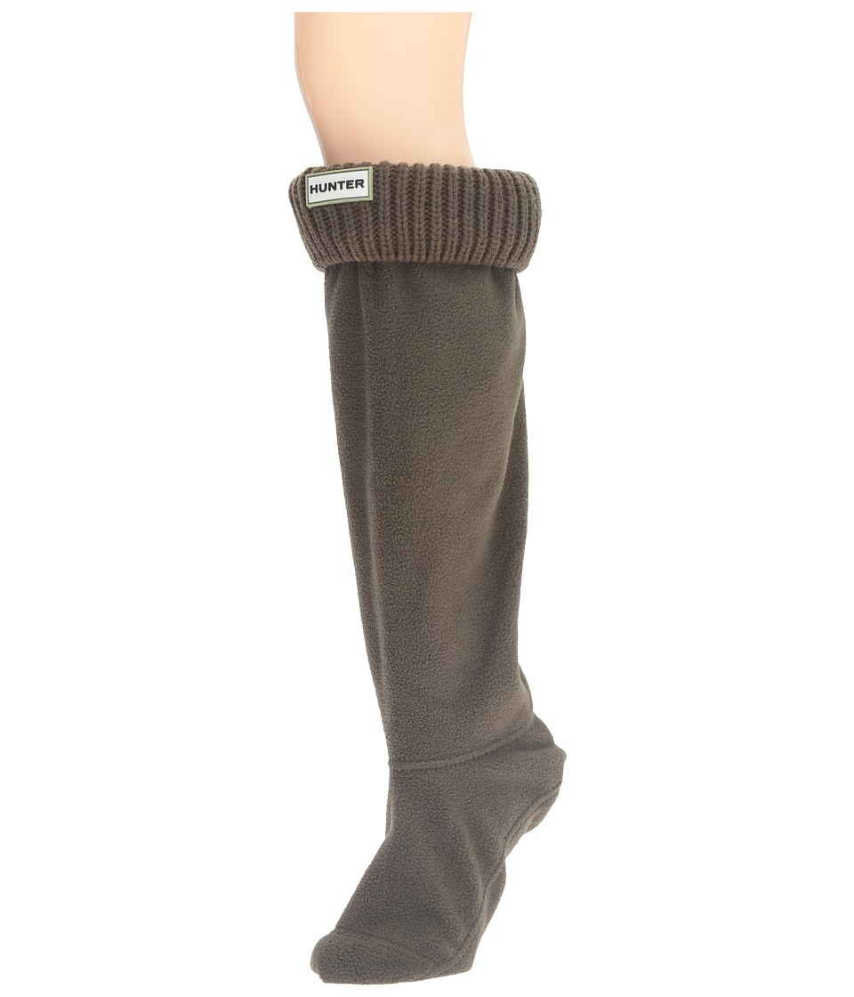 Hunter - Rib Cuff Boot Socks (Dark Olive) Women's Crew Cut Socks Shoes