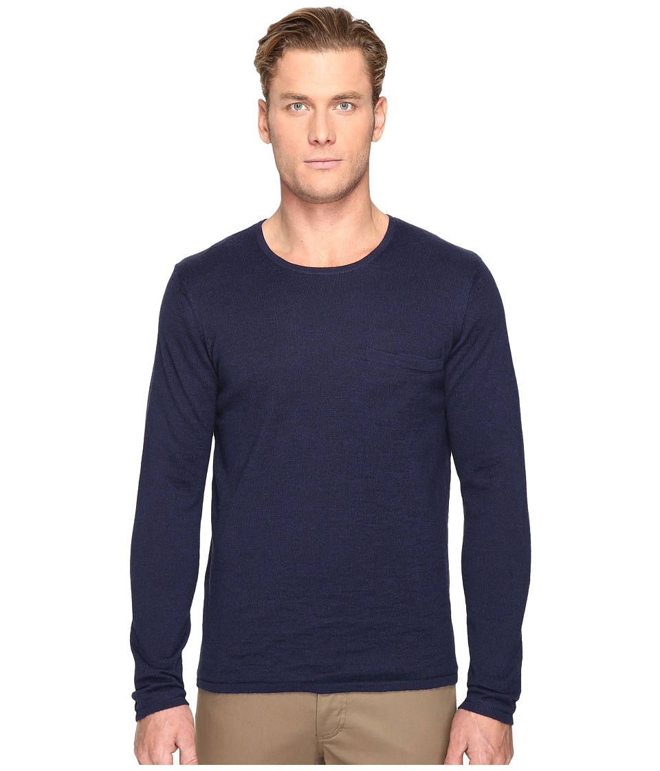 Billy Reid - Lined Crew Neck Sweater (Midnight) Men's Sweater