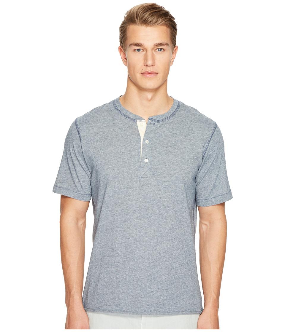 Billy Reid - Short Sleeve Hunter Henley (Lake Blue) Men's Clothing