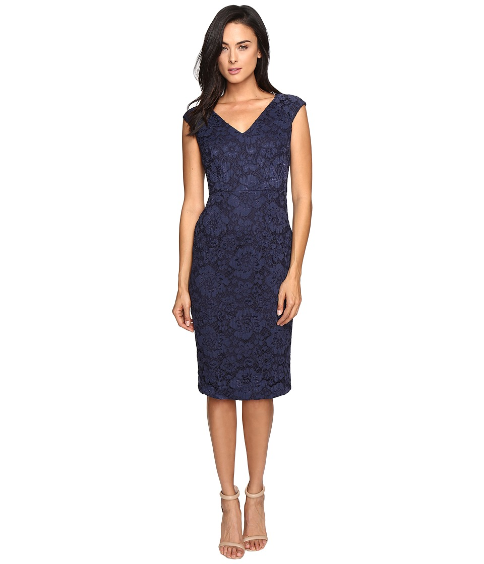 Maggy London - Rose Garden Lace Sheath (Navy) Women's Dress