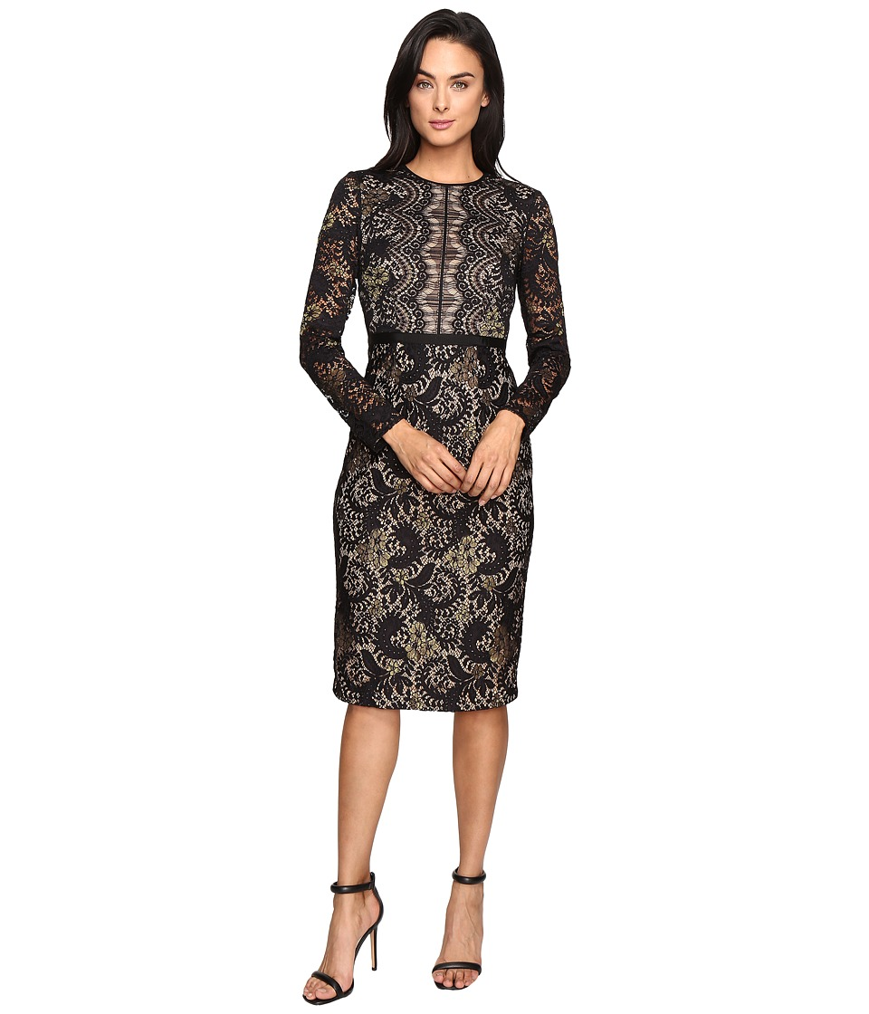 Maggy London - Metallic Paisley Lace Sheath Dress (Black/Gold) Women's Dress