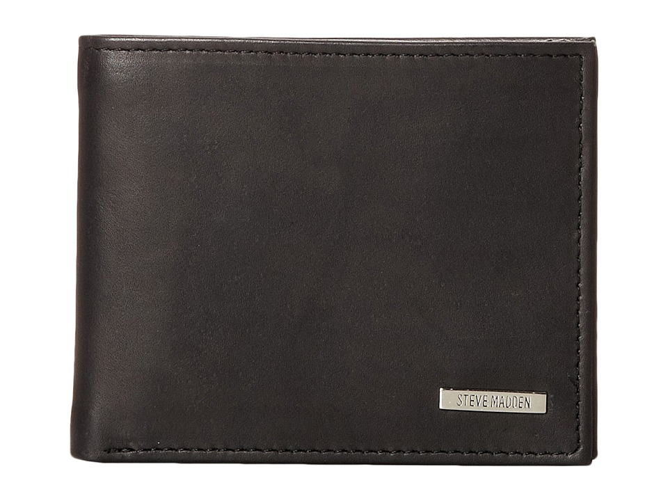 Steve Madden - Classic Leather Passcase Wallet (Black) Wallet Handbags