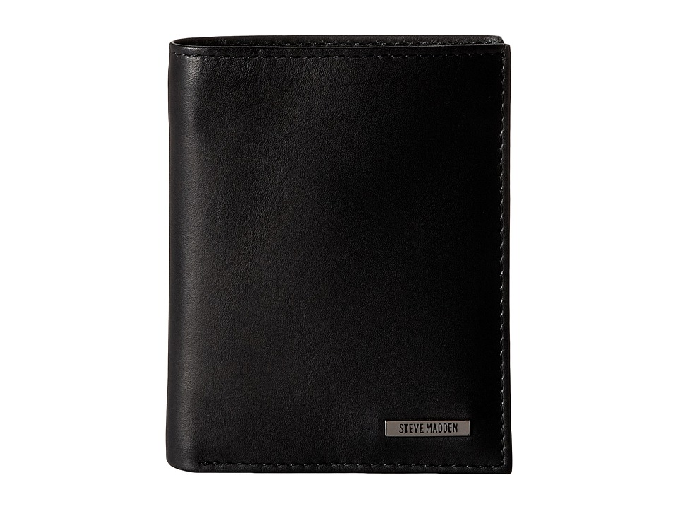 Steve Madden - Classic Leather Slimfold Wallet (Black) Wallet Handbags
