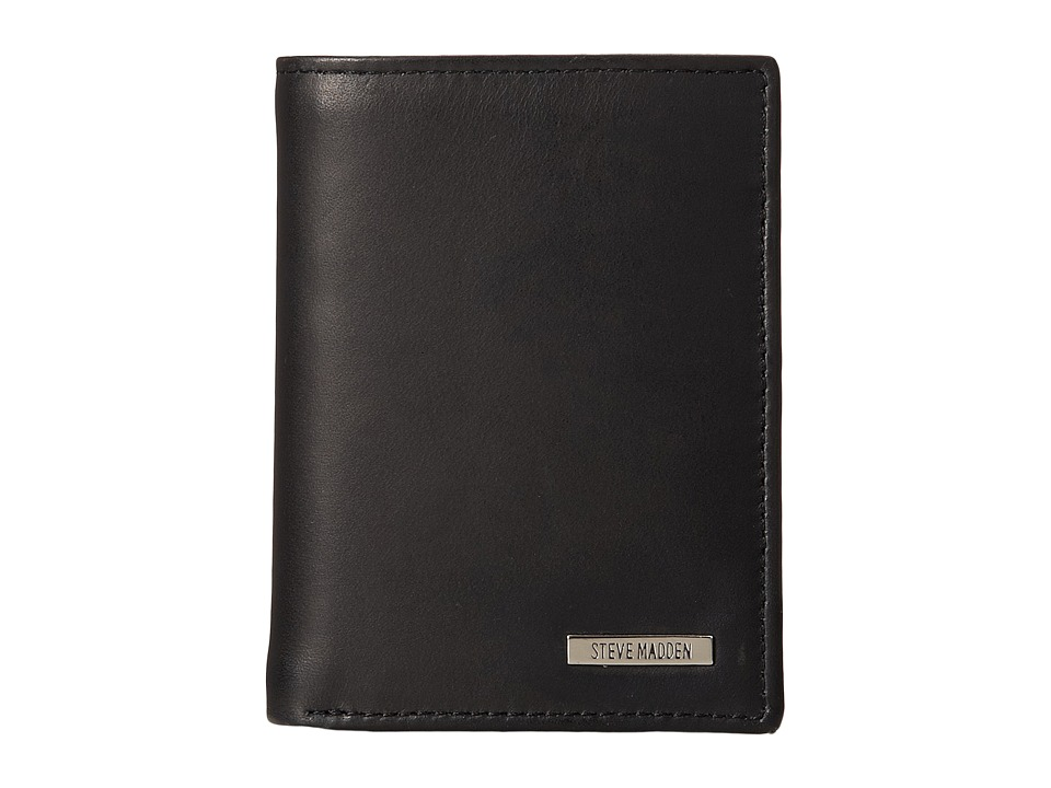 Steve Madden - Classic Leather Trifold Wallet (Black) Wallet Handbags