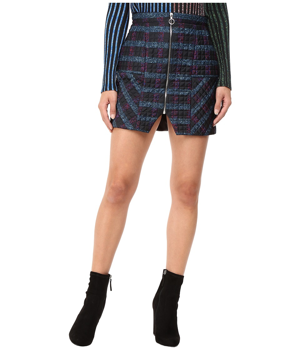Kitty Joseph - Quilted Satin Short Skirt with Front Bottom Slit (Printed) Women's Skirt