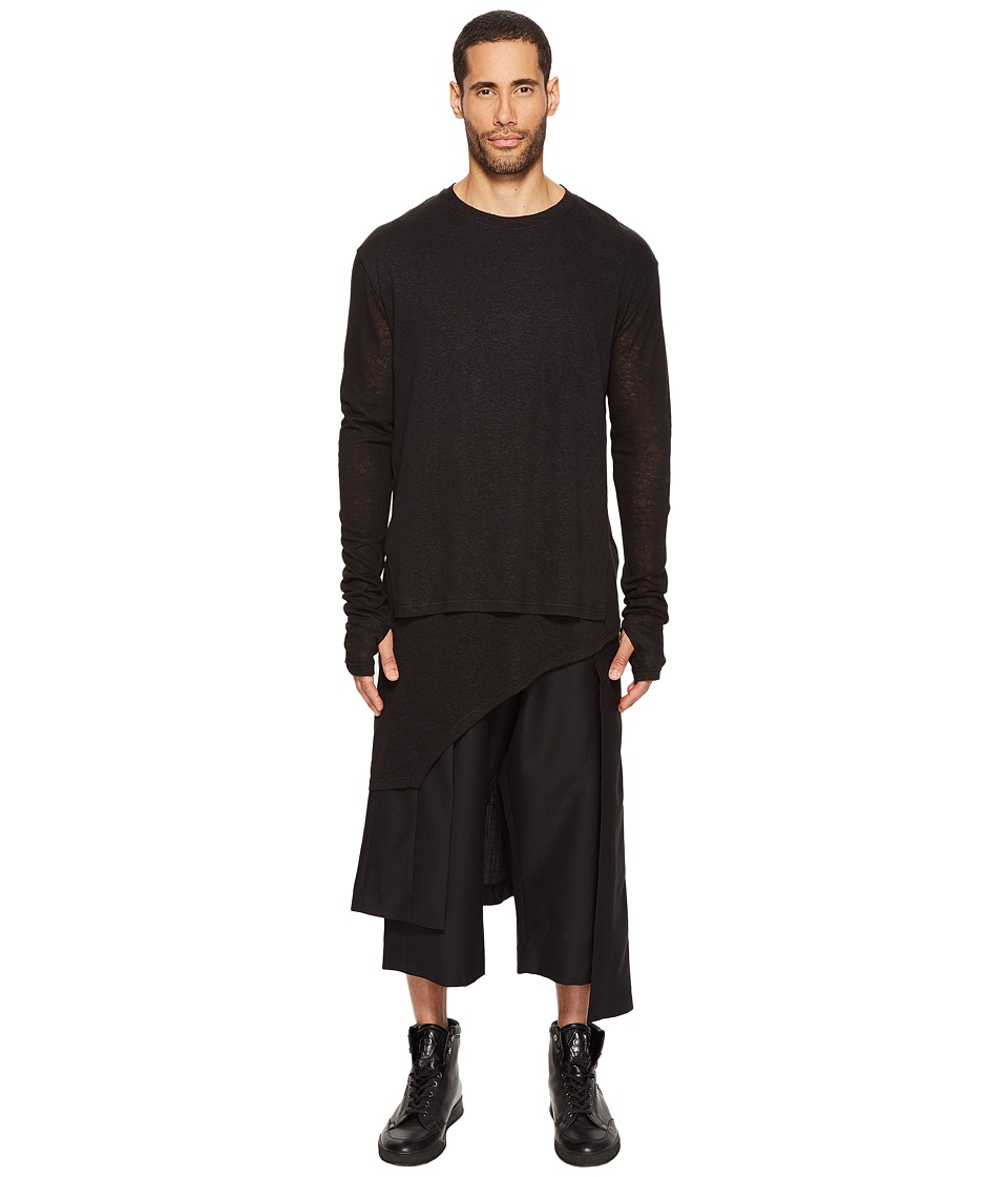 D.GNAK - Asymmetric Hem Pullover (Black) Men's Clothing