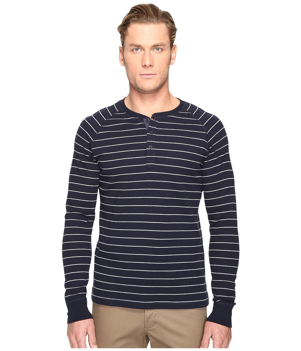 Jack Spade - Caine Striped Waffle Henley (Dark Navy) Men's Clothing