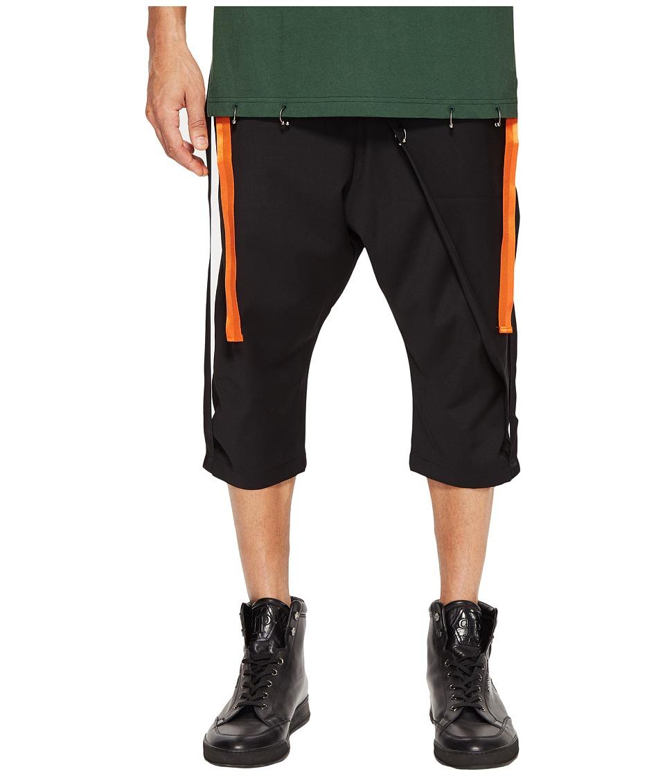 D.GNAK - Side Tapes Cropped Pants (Black) Men's Casual Pants