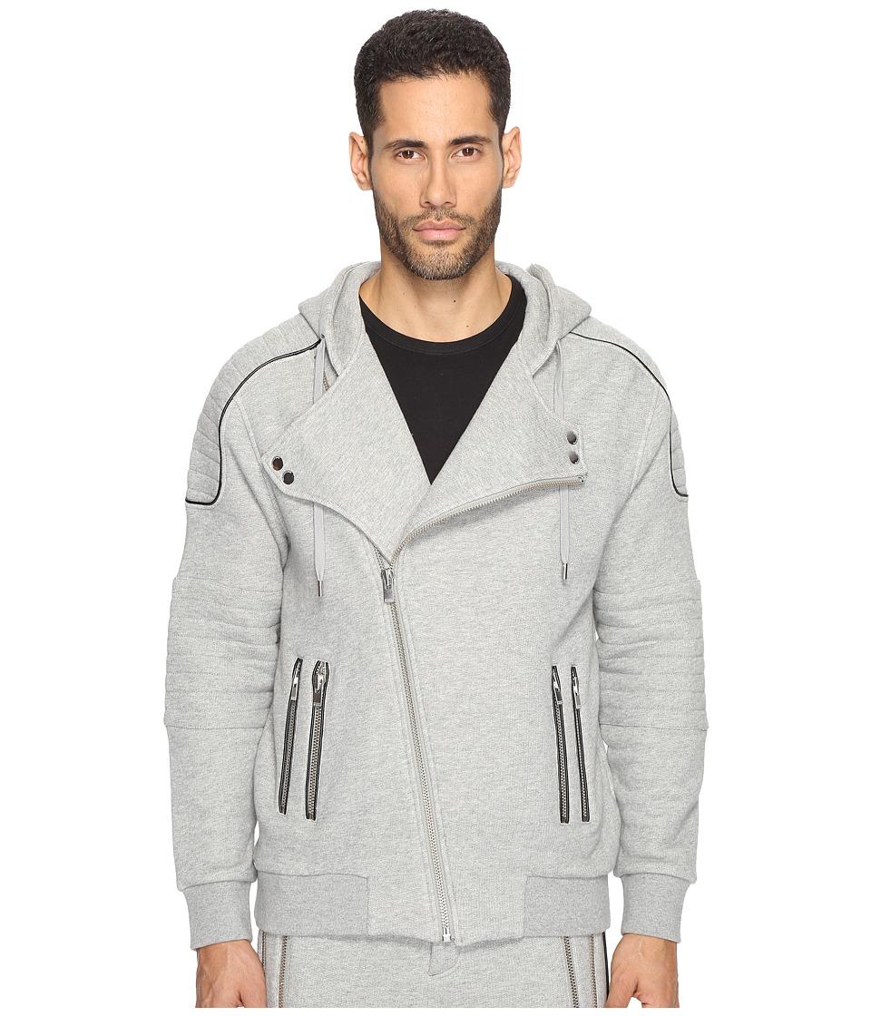 The Kooples - Sport Fleece Hoodie with Zippers (Grey) Men's Sweatshirt