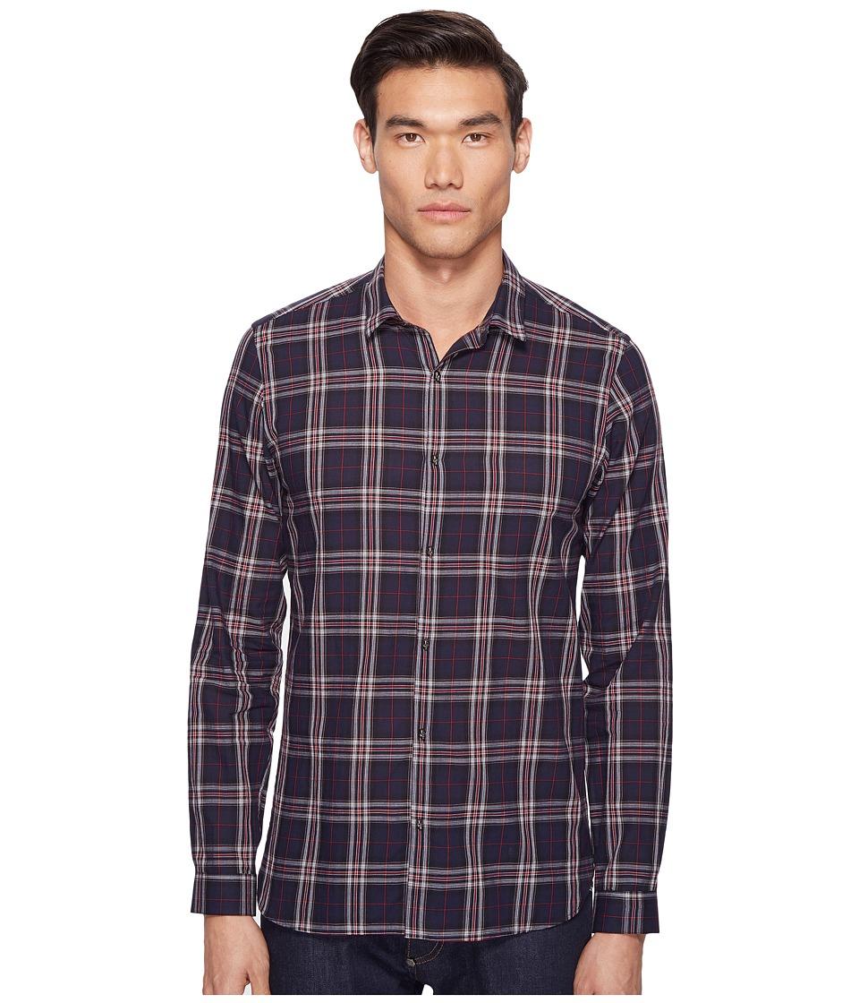 The Kooples - Flourescent Cotton Melange Plaid Shirt (Blue) Men's Clothing