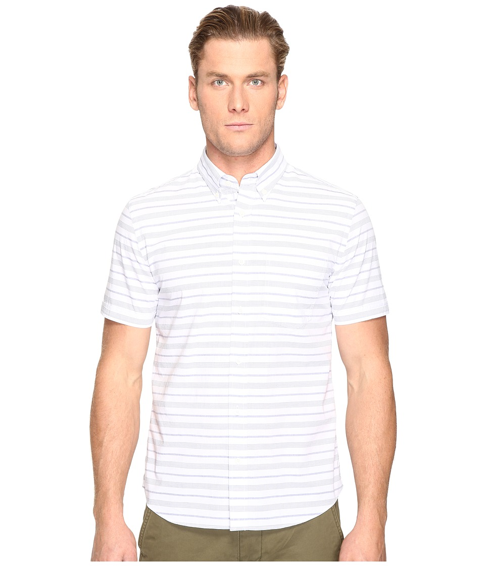 Jack Spade - Short Sleeve Horizontal Variated Stripe Button Down (White) Men's Short Sleeve Button Up