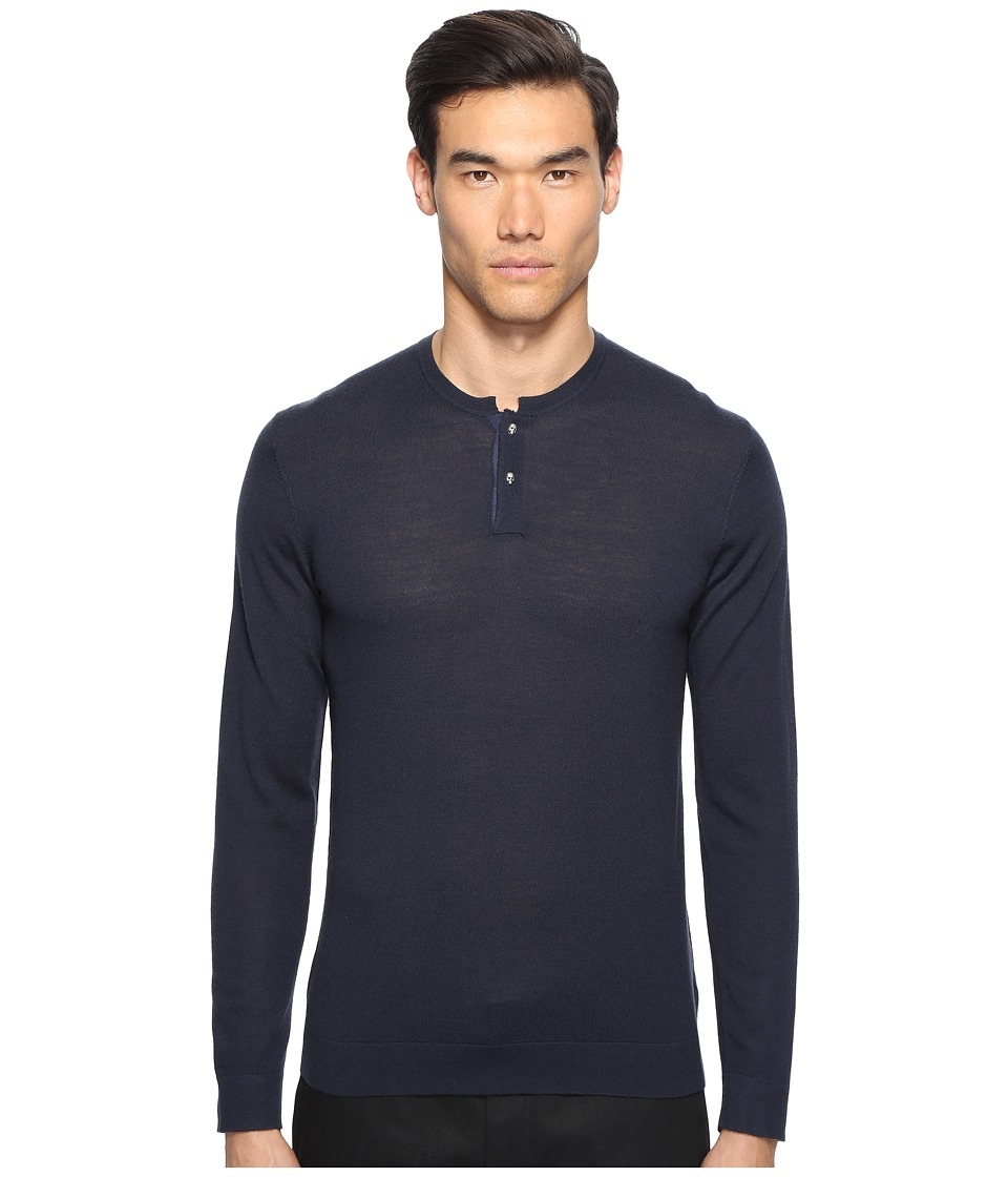 The Kooples - Lightweight Merino Henley (Blue) Men's Sweater