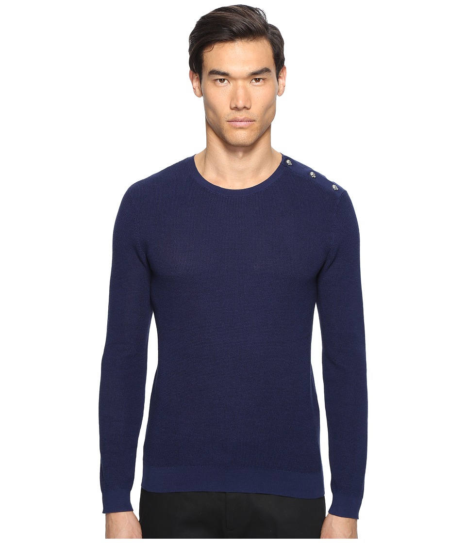 The Kooples - Cotton Pearl Stitch Sweater (Blue) Men's Sweater
