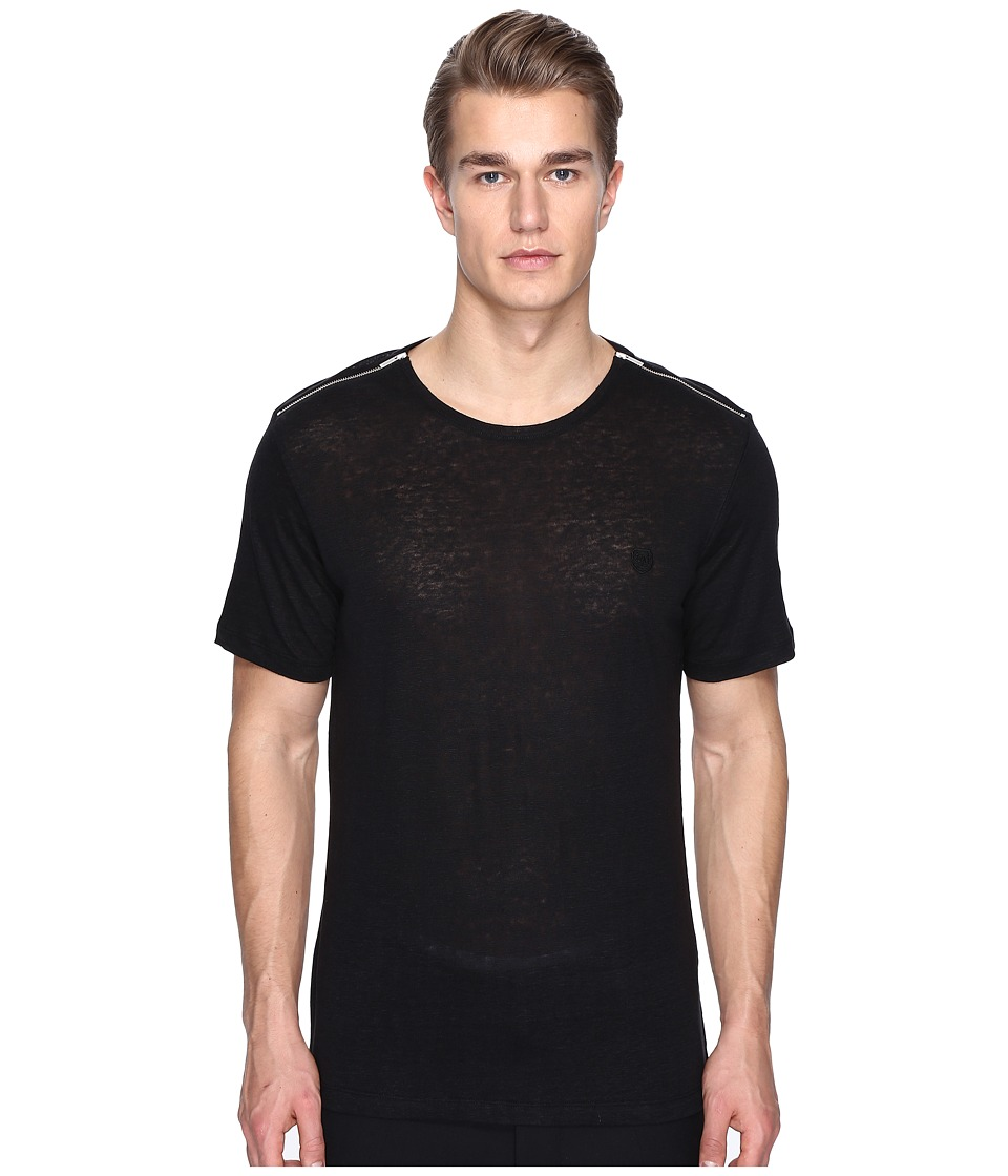 The Kooples - Sport Linen T-Shirt with Shoulder Zip (Black) Men's T Shirt