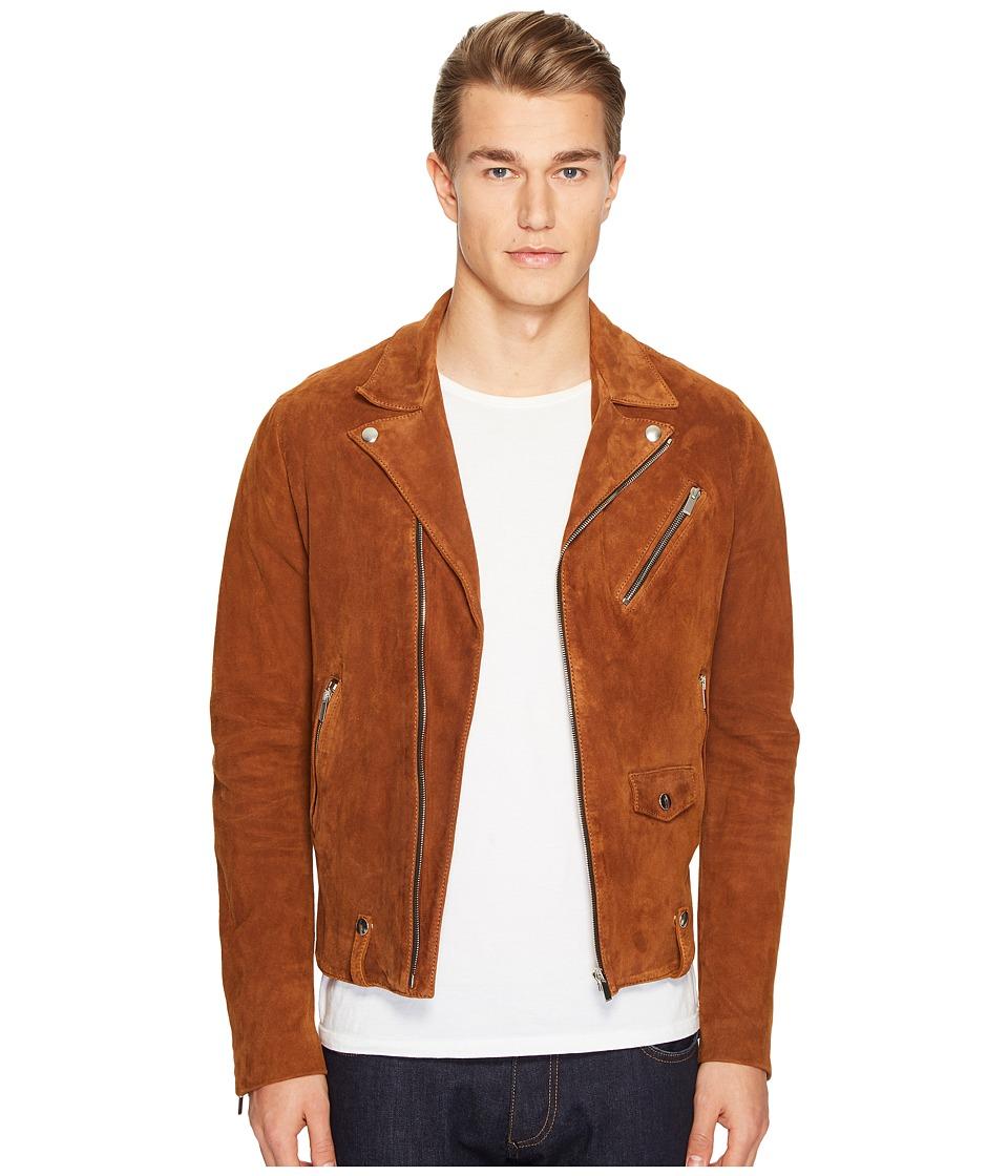 The Kooples - Destroyed Suede Perfecto Motorcycle Jacket (Beige) Men's Coat